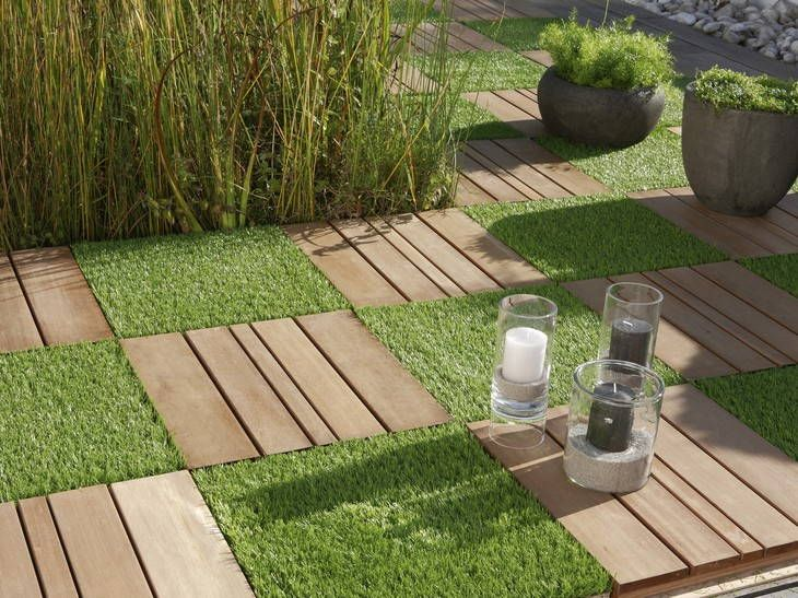 squares of grass with wood or concrete