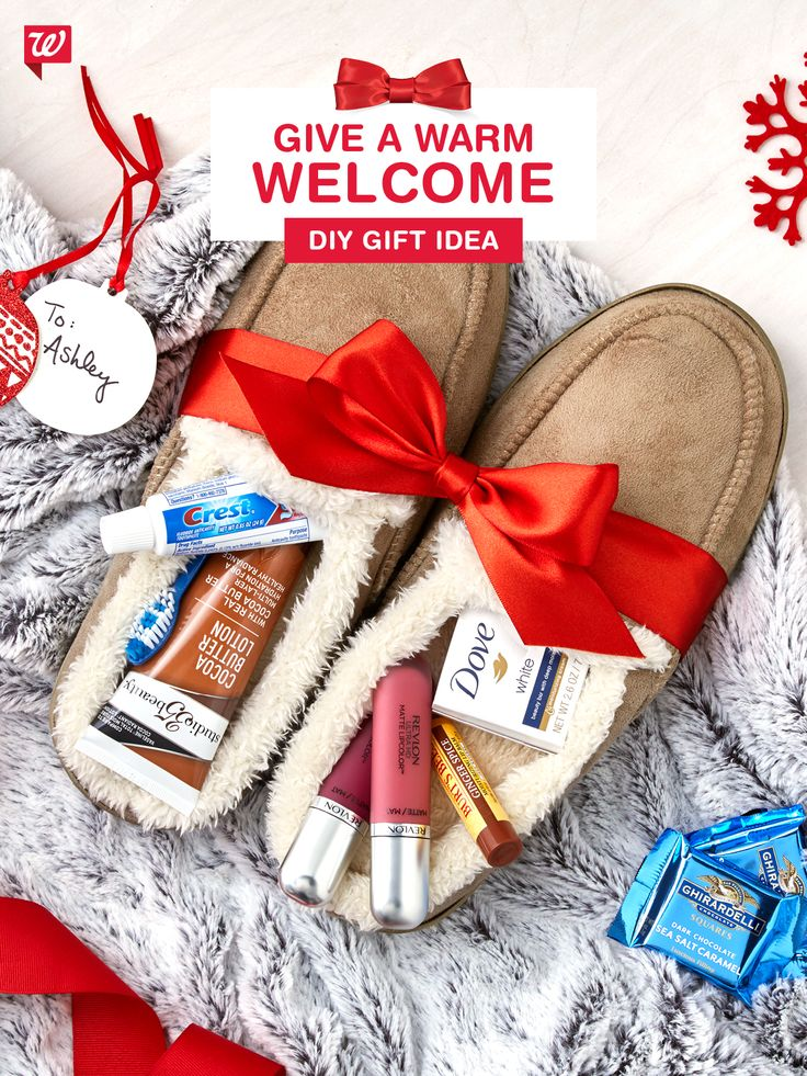 Make your guests feel right at home with cozy slippers chock full of everything they'll need to stay comfy, clean and connected during their stay. Personal care essentials, holiday flavored Burt's Bees lip balm (Ginger Spice!) and Revlon 2-pack lip glosses tuck neatly in these Sharper Image slippers and gift beautifully with a Hallmark tag. Now that's a warm welcome!