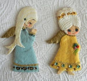 Cute vintage Beaded felt Angel Ornaments by Mari