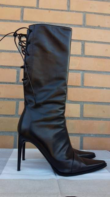 Stivali stiletto pelle nera n 39 Made in Italy