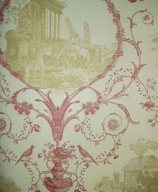 Toile design wallpaper depicting rural scenes in cream and pinky red: Wallpapers Depict, Pi Des, Des Ruins, Depict Rural, Toile Design, French Country, Design Wallpapers, Rural Scene, Ruins Wallpapers