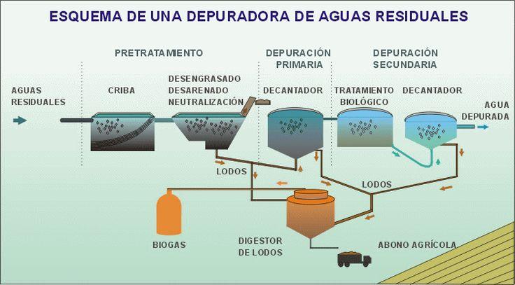 Esquema de funcionamiento de una planta depuradora de aguas residuales. Animación: De Mier y Leva