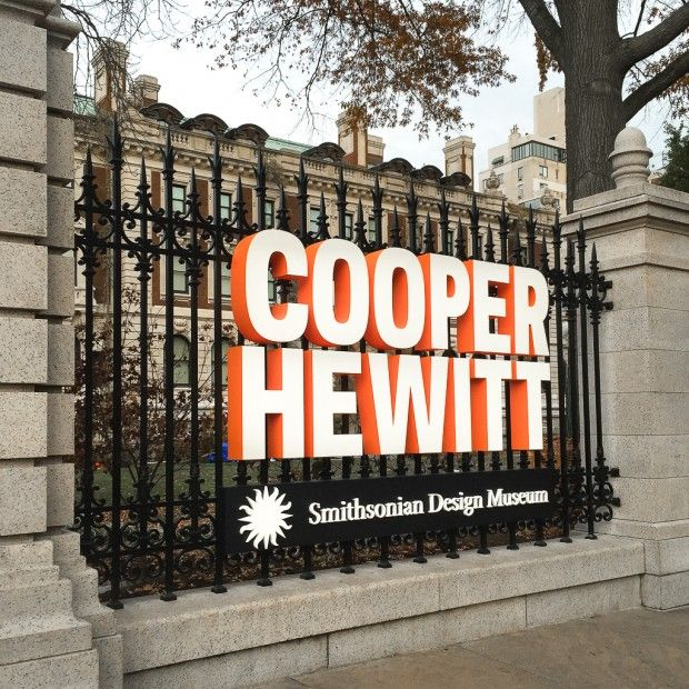 New signage for Cooper Hewitt, Smithsonian Design Museum. Design by Michael Gericke.