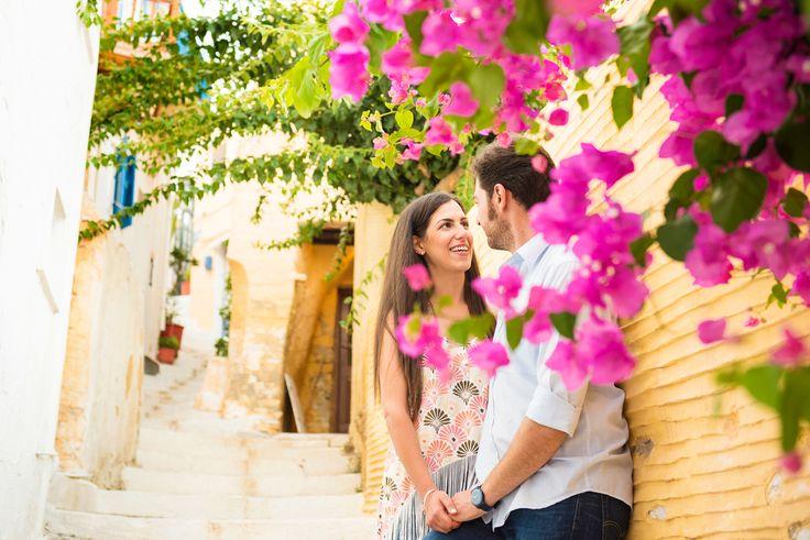 TARSANAS WEDDING PARTY-SYROS Bougainvillea couple love aegean island | lafete