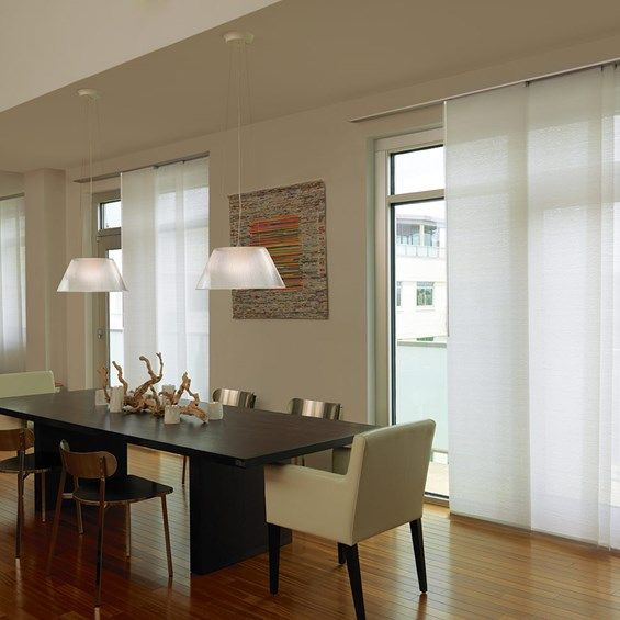 Levelor Fabric Sliding Panel in Light Filtering Whisper Color -- mounted, no valance about 3/4 to 1 ft above sliding door