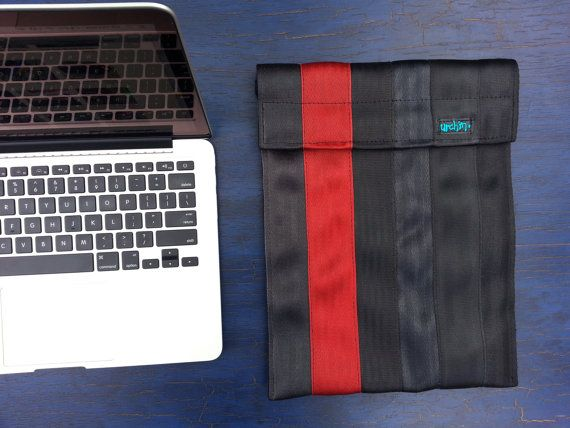 Apple Notebook Sleeve  Recycled Seatbelts by urchinbags on Etsy