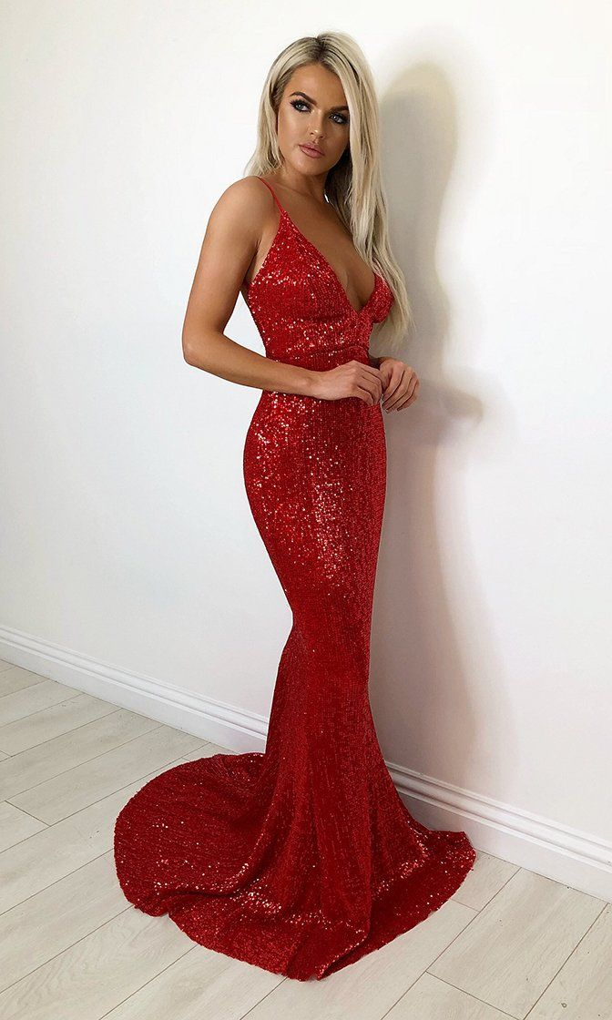 Fire and Ice Red Sequin Sleeveless Spaghetti Strap Plunge V Neck Backless Mermaid Maxi Dress 2