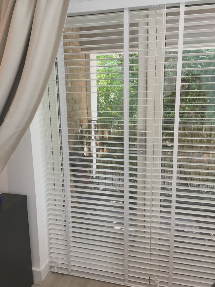 Wood Venetian Blinds With Existing Curtains | Pure White Blinds For Living  Room | Blinds For