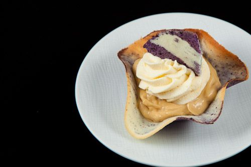 Maple Mousse inside a Blueberry-Lemon Tuille topped with White ...