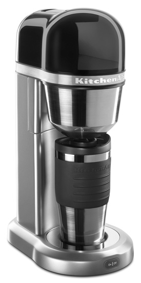 KitchenAid® Personal Coffee Maker with Optimized Brewing Technology and a small and tall design, perfect for any space. Removable water tank to easily add fresh water. 18 oz thermal mug and gold tone filter included.