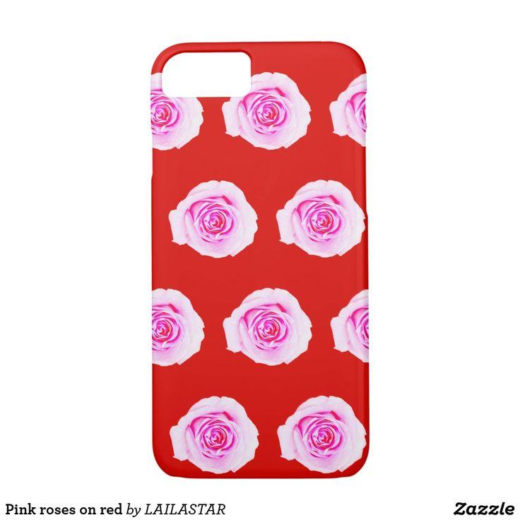 Roze rozen op rood iPhone 8/7 hoesje