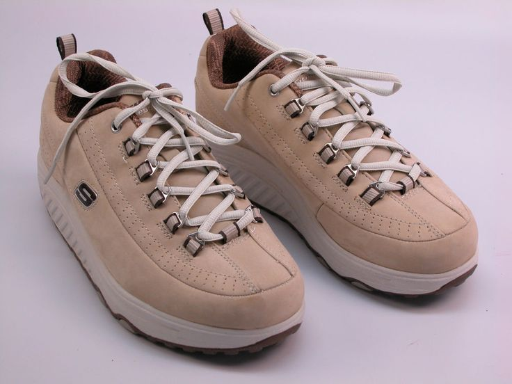Womens Skechers 11801 Shape Ups Toning Rocker Tan Suede Sz
