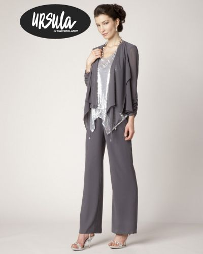 Size 16 Silver-Charcoal Ursula Micro Sequin Dressy Pant Suit 11233- The silky chiffon pants and three quarter sleeve jacket add touches of classic elegance and they gracefully flow with the movement of your body making this dressy pant set a must have for your formal wear wardrobe.