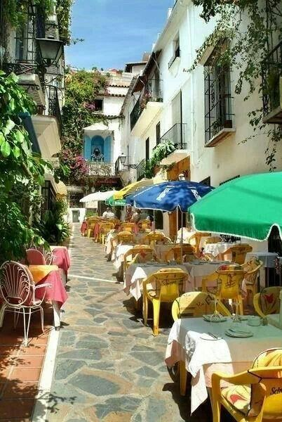 Spain. Marbella. Old Town. ( it´s called Casco Antiguo), bars & restaurants...