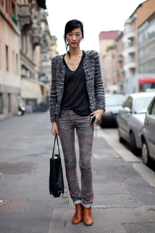 blazerFashion Style, Leather Boots, Street Style, Mixed Prints, Isabel Marant, Brown Boots, Pattern Jeans, Milan Fashion Weeks