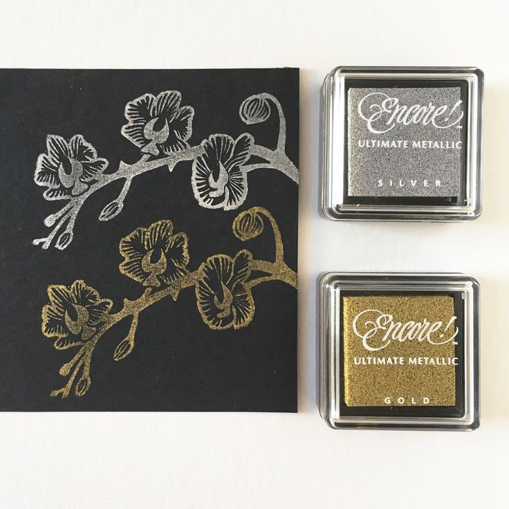 Stamping with golden and silver ink pads creating a Japanese feel...