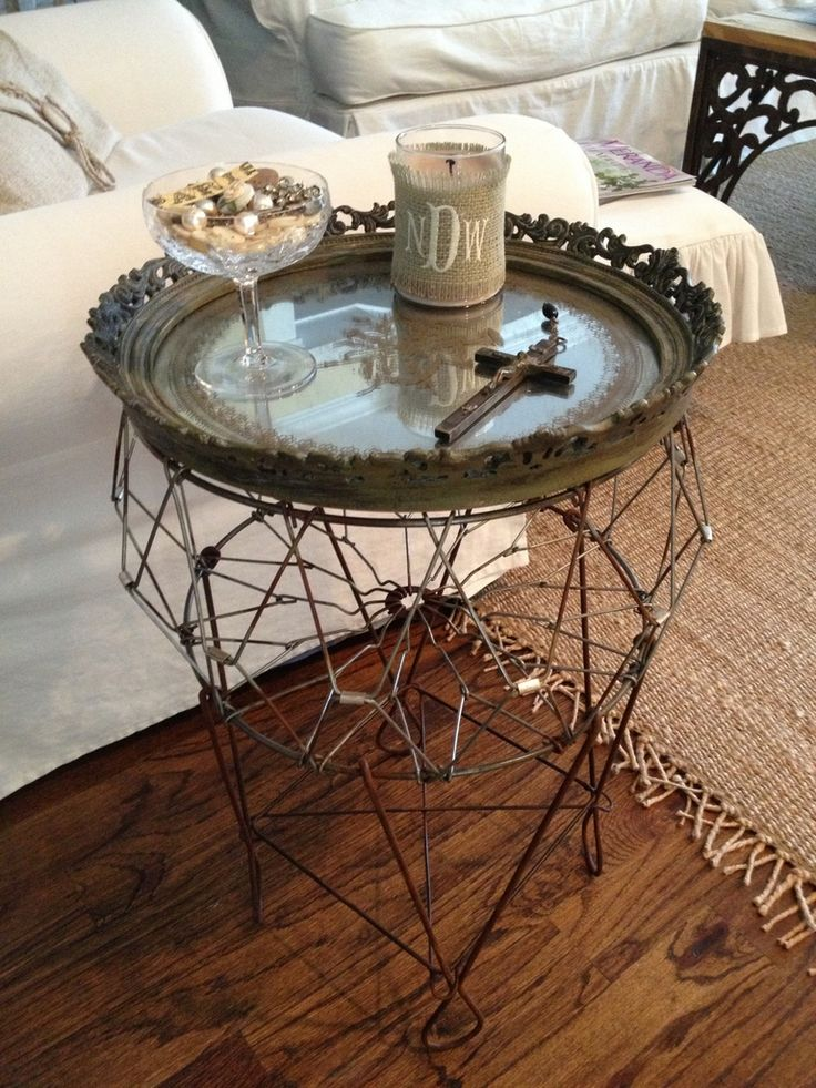 Vintage Wire Laundry Basket Turned Table With The Addition Of A Mirrored  Tray.
