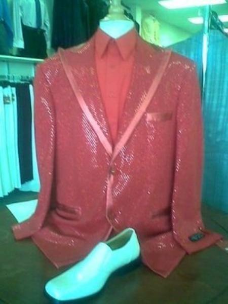 SKU#ED6738 Mens Red Shiny Flashy Metallic Tuxedo Suit Peak Lapel
