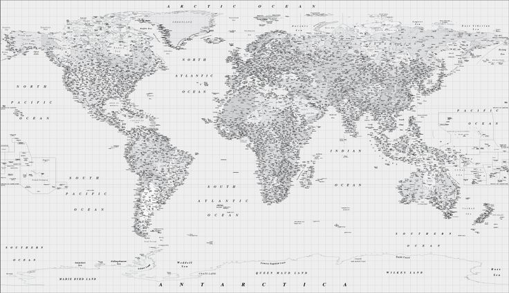 Black and white world map wall mural | travel