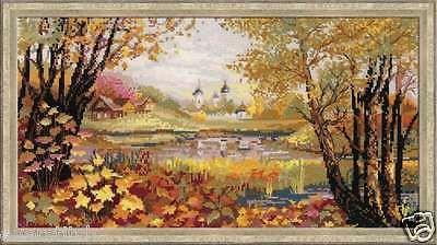 "Cross stitch kit RIOLIS ""AutumnTime"" art. #1233, Russian Nature, Church"