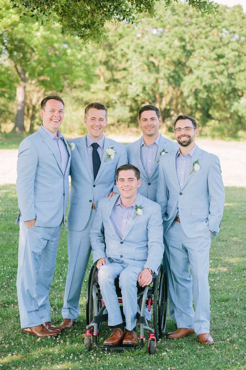 Pastel Charleston wedding at The Island House by Riverland Studios - groomsmen in pale blue suits