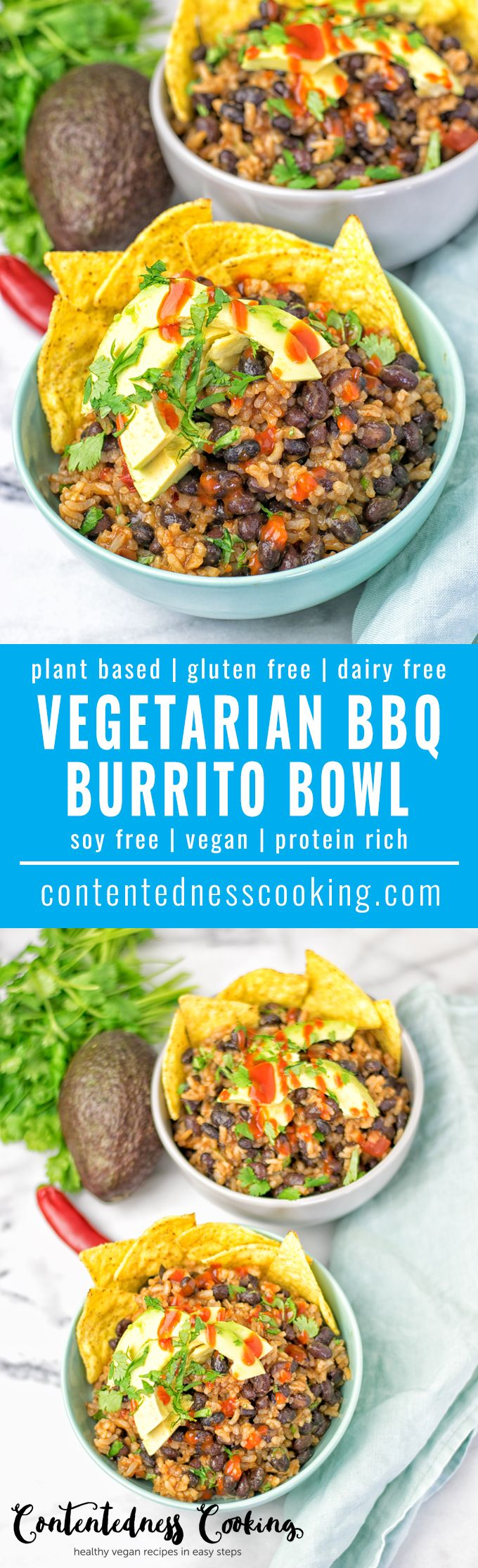 This insanely delicious Vegetarian BBQ Burrito Bowl is super easy to make. Full of black beans and spicy garlic, vegan, gluten free and is everything you ask for in a stunning lunch, dinner, or snack. #vegan #glutenfree #vegetarian #bbq #bowl #burrito