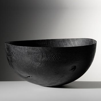 Friedemann Bühler 	Bowl, blackened oak, brushed, sandblasted 55,5 x 57 cm ↕ 27 cm