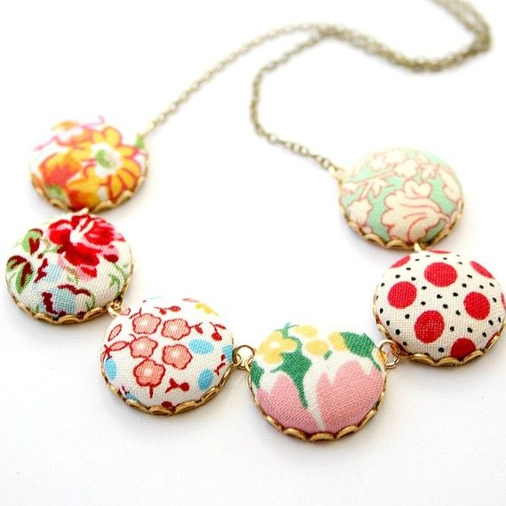 fabric necklace- SEE there really is no fabric scrap too small to be saved!