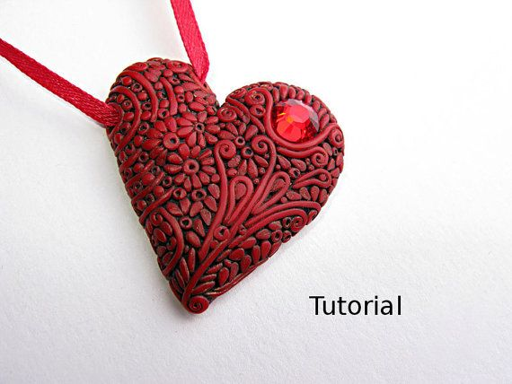 Filigree polymer clay red heart pendant tutorial. The pendant is 5 cm (2 inch). You will need: red polymer clay, black and gold acrylic paint, a