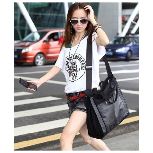 Solid Black Zipper PU Fashion Bags $9.40