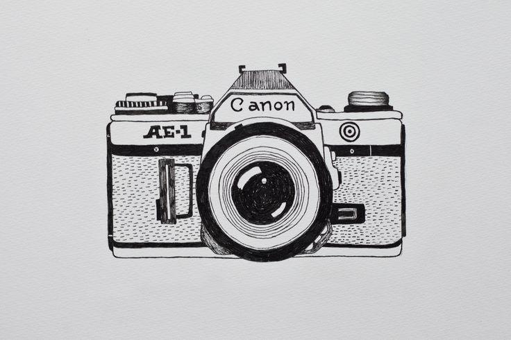 Camera Drawing Illustration Canon Analogue Marleen Annema Minerva ...
