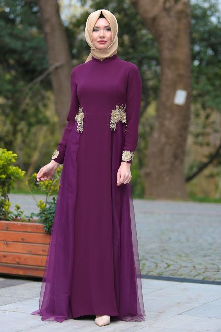 2f07c11101670 Tesettür İsland Tüllü Abiye Elbise Modelleri - Moda Tesettür Giyim ...