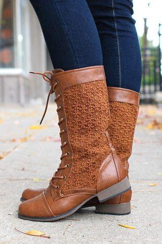 Crochet Lace Combat Boots   uoionline.com: Women's Clothing Boutique