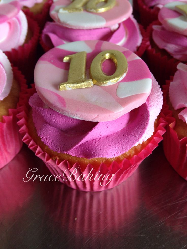 Pink camouflage cupcake by Grace Baking