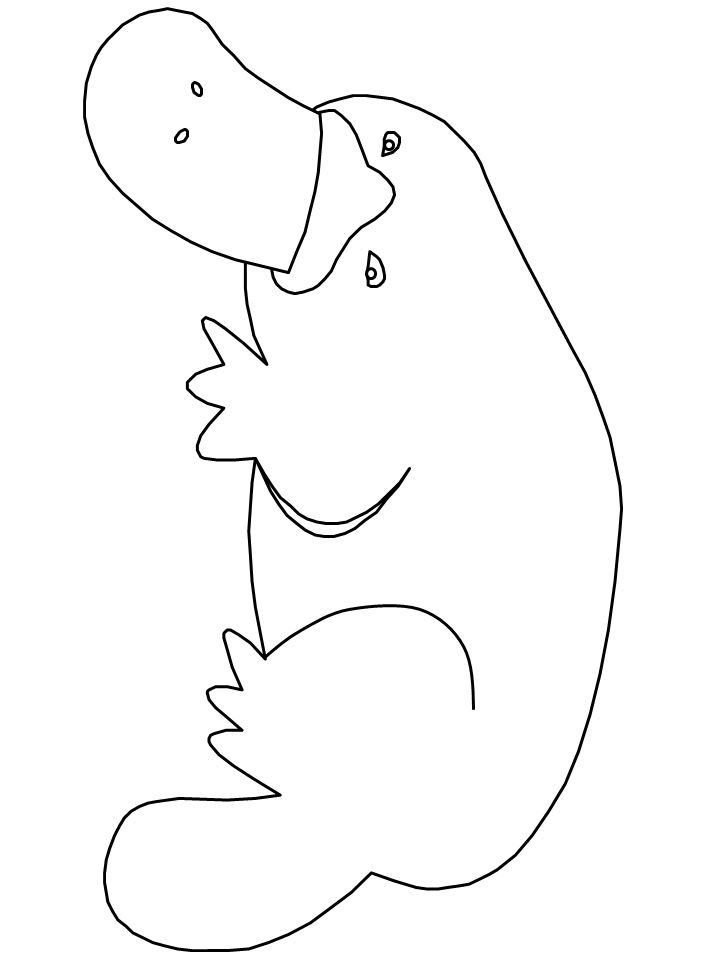 Print coloring page and book, Platypus2 Animals Coloring