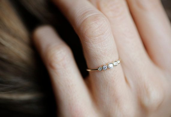 Five Diamond Band, 14k Yellow Gold Diamond Ring, Diamond Engagement Ring, Simple Diamond Band, 5 Stone Diamond Ring, 5 Stone Diamond Band