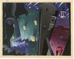 Cieślewski, Tadeusz (1895-1944) [Kompozycja symboliczna, schody i twarz oraz zaułek warszawski]