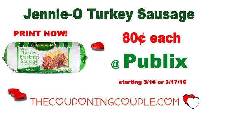 Jennie-O Turkey Sausage Only $0.80 @ Publix starting 3/16 or 3/17/16. Print Coupons now to hold for this upcoming deal. Great stock up price!  Click the link below to get all of the details ► http://www.thecouponingcouple.com/jennie-o-turkey-sausage-only-0-80-publix/ #Coupons #Couponing #CouponCommunity  Visit us at http://www.thecouponingcouple.com for more great posts!