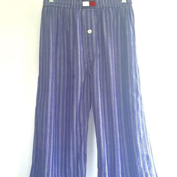 Vintage Tommy Hilfiger Mens Pajama Pants 90's Spell Out Color Block Big Flag M #TommyHilfiger #LongPajamaPantStyle