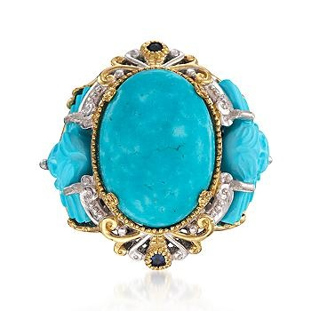 Ross-Simons - Turquoise and .10 ct. t.w. Sapphire Ring In Two-Tone - #783144