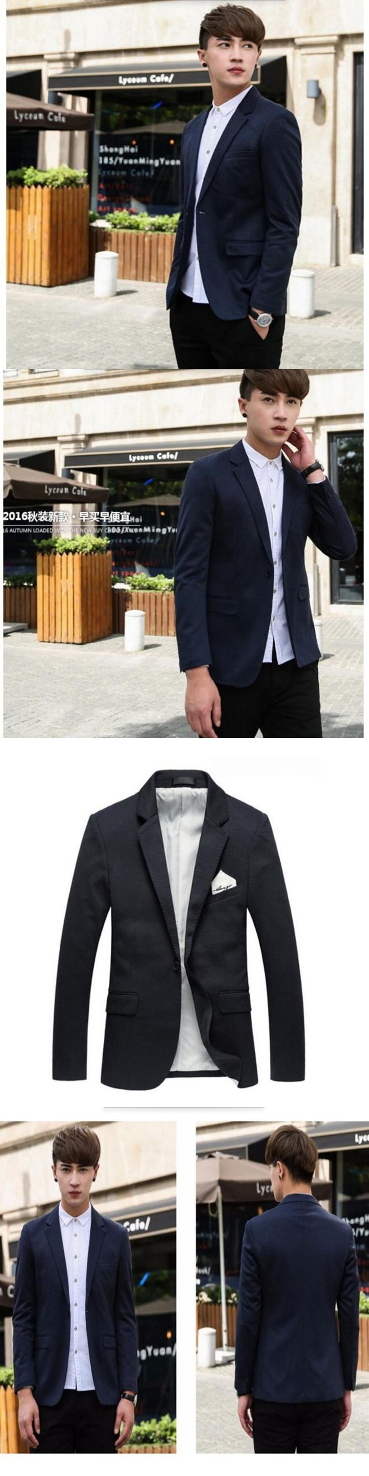 Latest men's suit jacket pure color small a grain of buckle formal business interview suit dinner parties tailored suit jacket