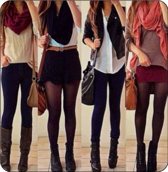 Fall outfits. Panty hoes with skirt or shorts