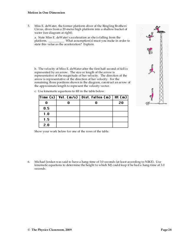 Free Fall Worksheet Answers 1d Motion Worksheet Packet In 2020 Fall Worksheets Worksheets Matter Worksheets