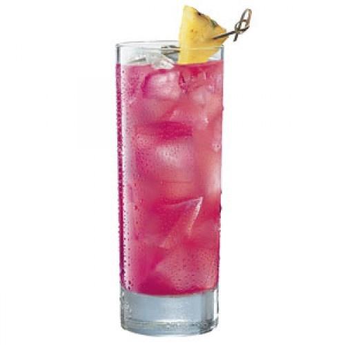 """PB Breeze""    Ingredients:  1 oz. Captain Morgan Parrot Bay Coconut (25 oz. per bottle)  1 oz. cranberry juice  1 oz. pineapple juice  1 slice pineapple"