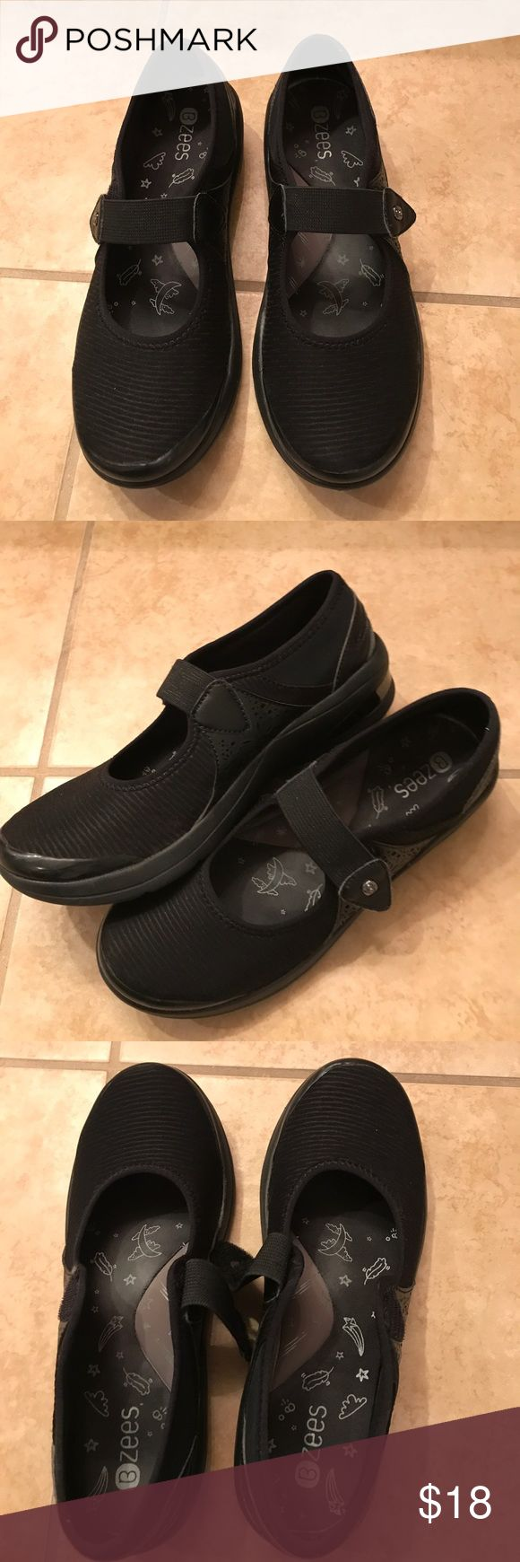 Bzees black Mary Janes Comfortable athleisure shoes. Velcro closure. Soft padded footbed with arch support. Worn a few times indoors only. No signs of wear. Bzees Shoes Flats & Loafers