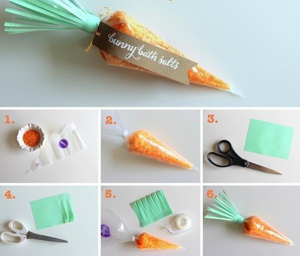 ostern ideen geschenk orange badesalz karotte verpacken