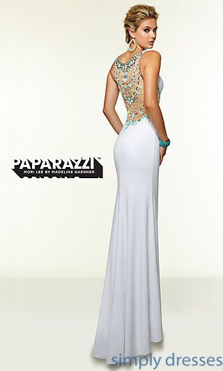 Long Mori Lee Prom Dress with Beaded Back at SimplyDresses.com