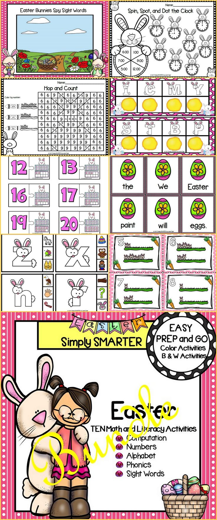 Are you looking for EASY PREP literacy and math activities for preschool, kindergarten, or first grade?  Then enjoy this resource which is comprised of TEN different EASTER themed activities complete with a combination of color and black and white activities. The bundle includes activities such as task cards, clip cards, puzzles, Bingo Dauber dotting activities, color by the code pages, Play-Doh mats, I Spy, and MORE!  The activities can be used for literacy and math centers or homework!