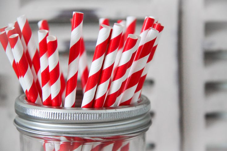 Red Striped Paper Straws - Teelee - A Bits & Bobs Brand
