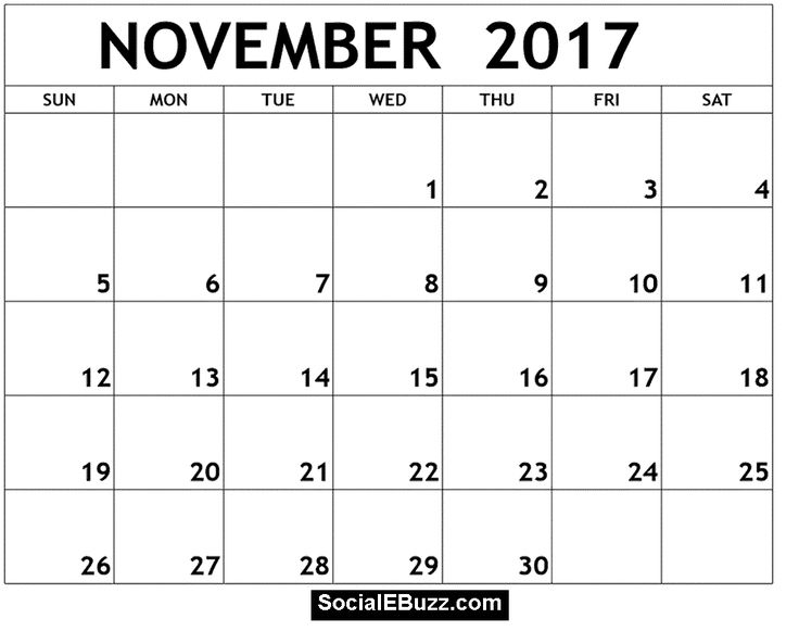November 2017 Calendar PDF    socialebuzz november-2017 - sample monthly calendar